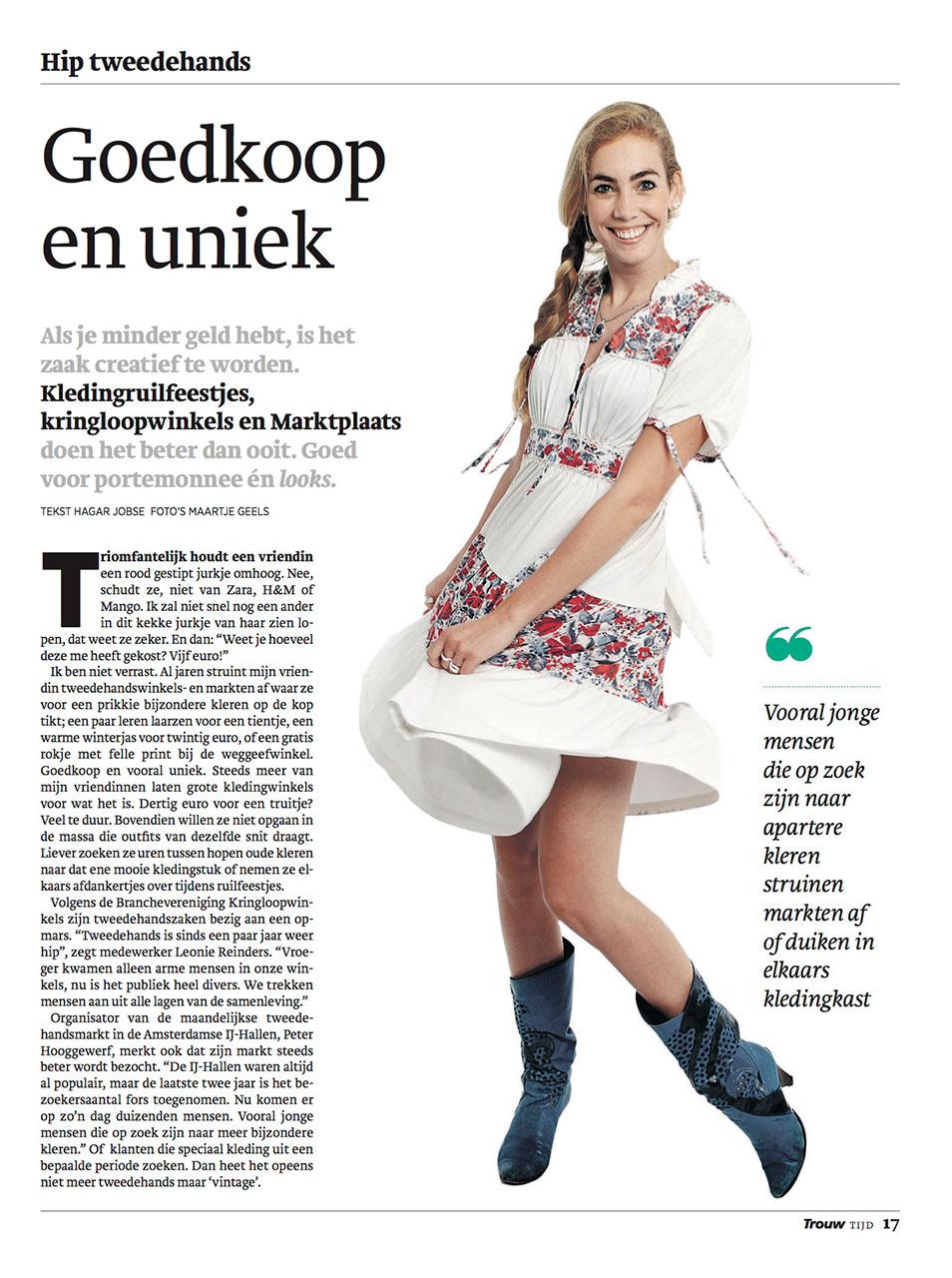 Dagblad Trouw over het kopen en dragen van 2de hands kleding